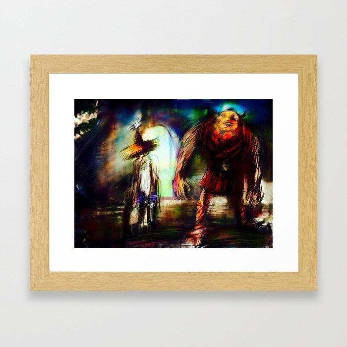 Rabbi Löw and Der Golem Framed Art Print