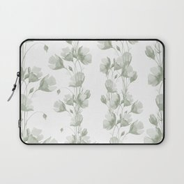 Vintage green white elegant floral illustration Laptop Sleeve