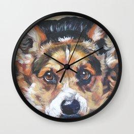 Pembroke Welsh Corgi dog art portrait from an original painting by L.A.Shepard Wall Clock