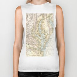 Vintage Map of The Chesapeake Bay(1778) 2 Biker Tank