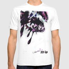 BLACK SWANY / TEARDROPS White Mens Fitted Tee MEDIUM
