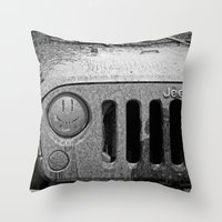 jeep Throw Pillows featuring Jeep Smiles by Bwoodstockfoto