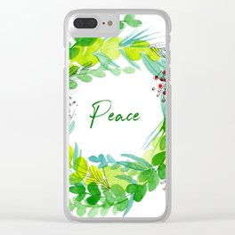 Deck the Halls Holiday Wreath Clear iPhone Case