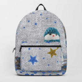 Snowman with sparkly blue stars Backpack