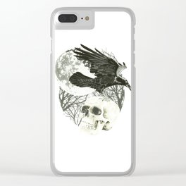 Raven on Skull Clear iPhone Case