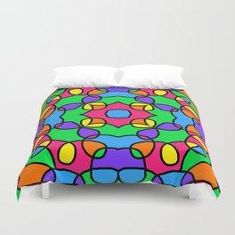 Rainbow Mosaic Symmetrical Swirls Kaleidoscope Duvet Cover