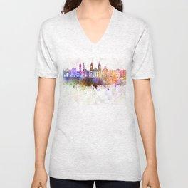 Innsbruck skyline in watercolor background Unisex V-Neck