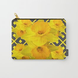 Golden Daffodils Grey Art Design Carry-All Pouch