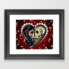 Ashes - Day of the Dead Couple - Sugar Skull Lovers - Dia de los Muertos Love Forever Framed Art Print