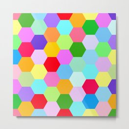 Multicoloured Hexagon Pattern Metal Print