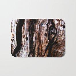 Ancient olive tree wood close-up Bath Mat