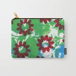 Red Flowers on Green and Blue Carry-All Pouch