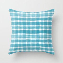 Watercolor Brushstroke Plaid Pattern Pantone Barrier Reef 17-4530 Throw Pillow
