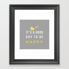 Happy Poster - grey Framed Art Print