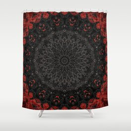 Red and Black Bohemian Mandala Design Shower Curtain