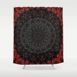 Red and Black Bohemian Mandala Design Shower Curtain