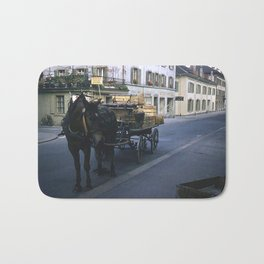 1940's Color Vintage Photo * Lucerne, Switzerland * Horse and Vegetable Cart Bath Mat