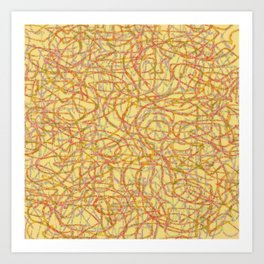 Yellow scribbled lines pattern Art Print