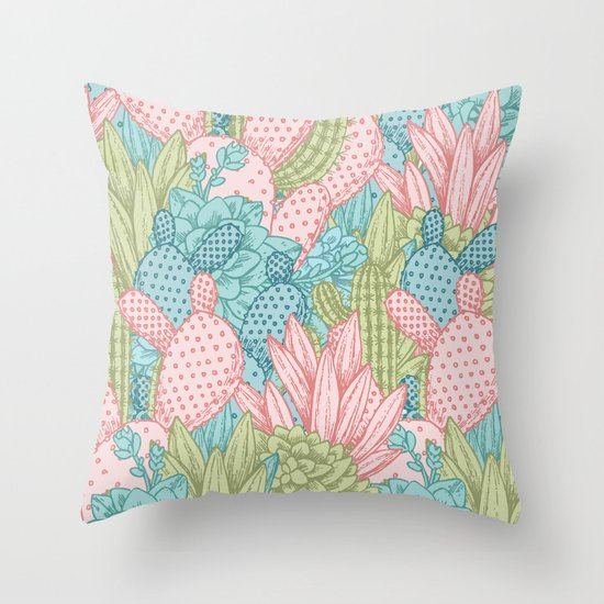 Cute Throw Pillow Society6 : Pastel Cacti Obsession #society6 Throw Pillow by Cadinera Society6