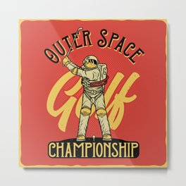 Outer Space Golf Championship Metal Print
