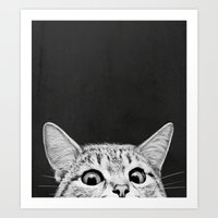kitten Art Prints featuring You asleep yet? by Laura Graves
