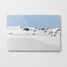 snowy mountain resort Metal Print