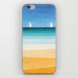Yachts sea beach watercolor geometric iPhone Skin