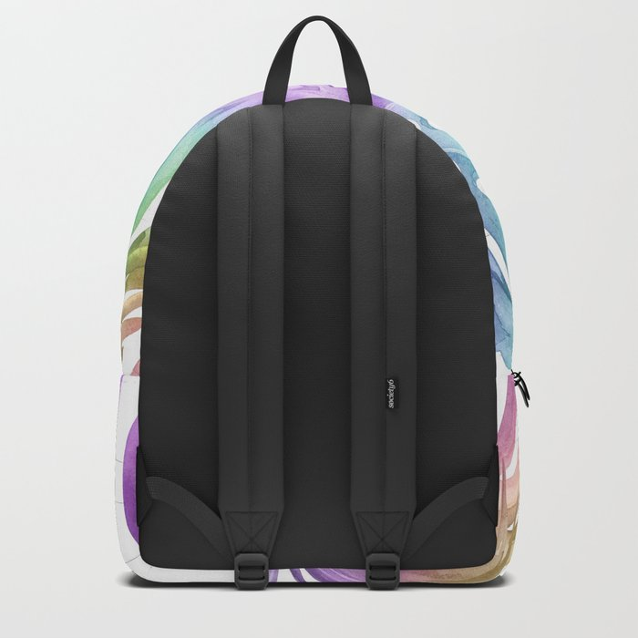 Tropical Rainbow Palm Leaves on Wood Backpack