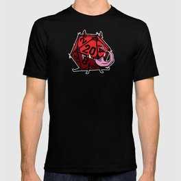 D20 dice mimic pup in red T-shirt