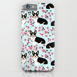 Welsh corgi tricolored cherry blossoms botanical florals japanese flowers dog breed corgis iPhone Case