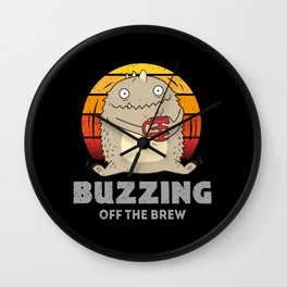 Buzzing Off The Brew - Coffee Monster Wall Clock