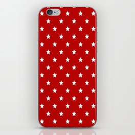 Red Background With White Stars Pattern iPhone Skin