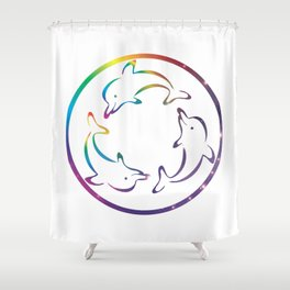 Universe in Rotating Dolphins Shower Curtain