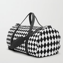 mini Black and White Mini Diamond Check Board Pattern Duffle Bag