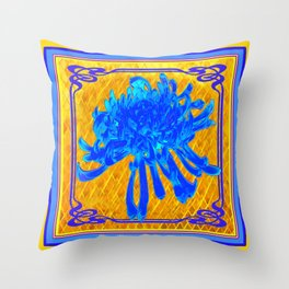 ABSTRACT BABY BLUE SPIDER MUM ON GOLD PATTERN FLOWERS Throw Pillow