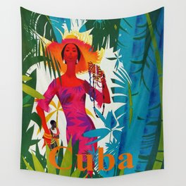 Vintage Caribbean Travel - Cuba Wall Tapestry