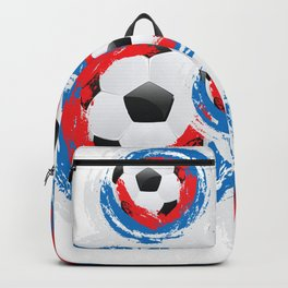 Football Ball and red, blue, white Strokes Backpack