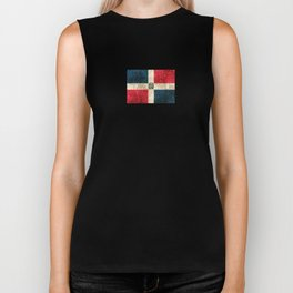 Vintage Aged and Scratched Dominican Flag Biker Tank