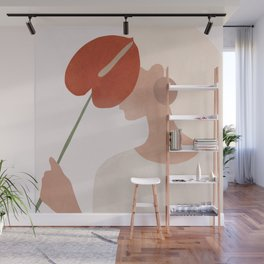 Lady with a Red Leaf Wall Mural