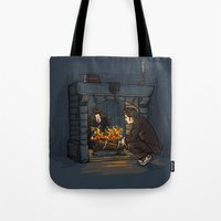 hallion Tote Bags featuring The Witch in the Fireplace by Karen Hallion Illustrations