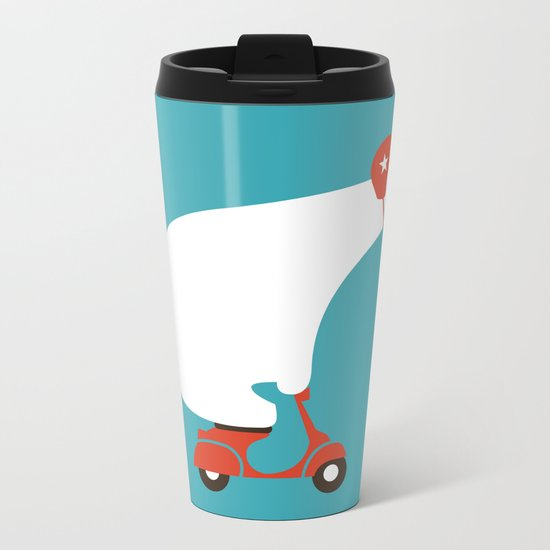 Polar bear on scooter Metal Travel Mug
