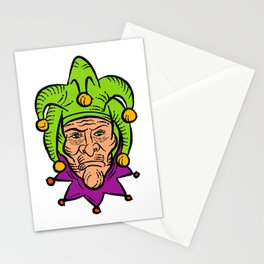Medieval Court Jester Etching Color Stationery Cards
