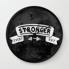 Stronger Every Day (dumbbell, black & white) Wall Clock
