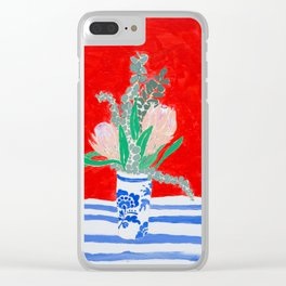 Protea Still Life in Red and Delft Blue Clear iPhone Case