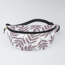 Mauve pink brown modern hand painted fall leaves Fanny Pack