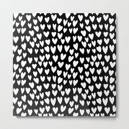 Linocut printmaking hearts pattern minimalist black and white heart gifts Metal Print