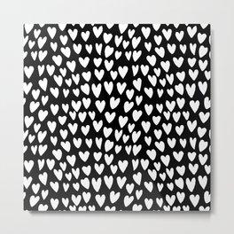 Linocut printmaking hearts pattern minimalist black and white heart gifts Metal Print