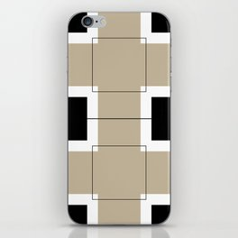 White Hairline Squares in Light Brown iPhone Skin