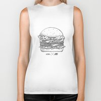 burger Biker Tanks featuring Burger by Les Très Tresses