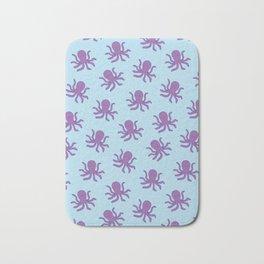 Friendly Octopus // Blue Pattern Bath Mat